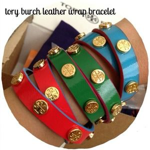 Tory Burch Jewelry - Tory Burch leather wrap bracelet in blue