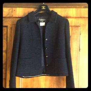 CHANEL navy blue wool jacket