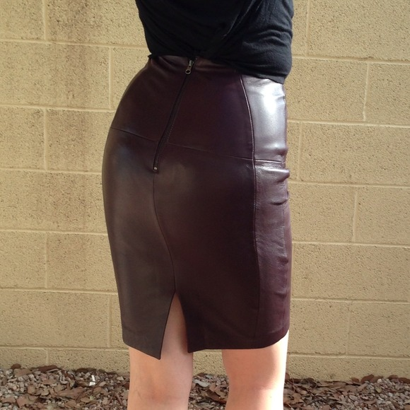 H&M - Maroon Leather Pencil Skirt from !  april's closet on Poshmark