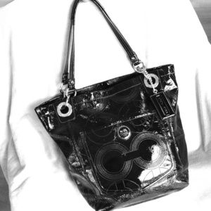 Coach Alex Patent Leather Tote 14265 Black Silver