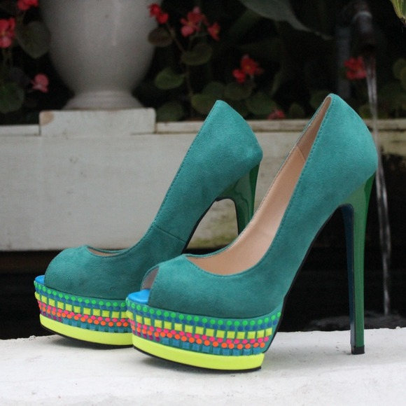Shoe Dazzle Shoes - Multicolor Platform Pumps 2