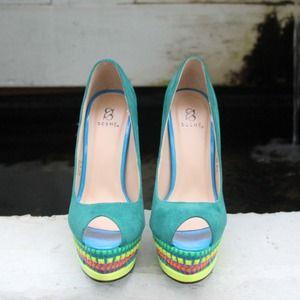 Shoe Dazzle Shoes - Multicolor Platform Pumps