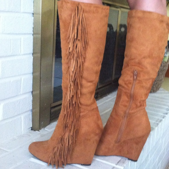 25% off Charlotte Russe Shoes - Light brown fringe wedge boots ...