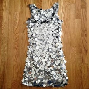 Arden B Dresses - Arden B. silver minidress w/all over pailletes