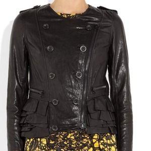 3.1 Phillip Lim Ruffle Leather Jacket. XS