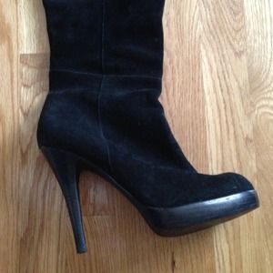 """Bakers Shoes - Bakers """"Elijah"""" over-the-knee black leather boots"""