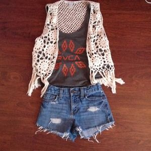 Denim - Distressed high waisted shorts
