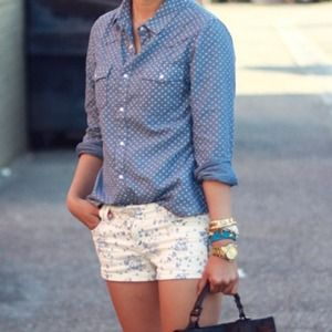 White and blue floral print shorts