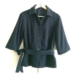 Navy virgin wool belted jacket