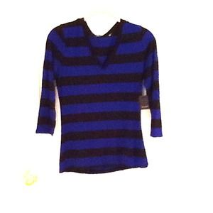 TAHARI black and brilliant blue striped top
