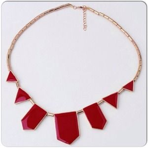 ⚡️HP 01/06/15Gold Red Statement Necklace