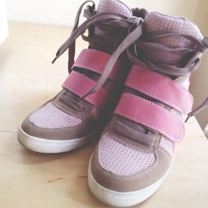 Shoes - Red, Pink & Tan Wedge Sneakers