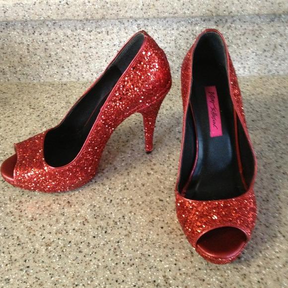 Red Glitter Peep Toe Heels   Poshmark