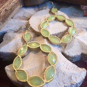 Jewelry - Mint Green Jeweled Hoop Earrings