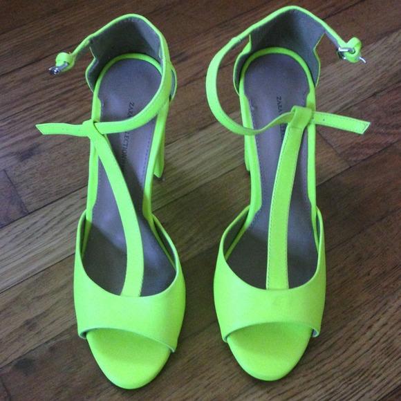 561e55f6834 Zara Neon yellow t-strap sandal heels. M 521fc035d16c8b799002110e