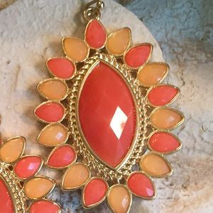 Jewelry - Statement jeweled earrings in corals