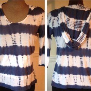 NEW Tie Dye Hoodie Striped Top