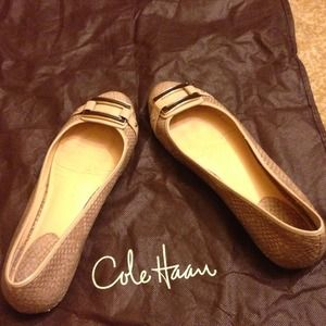 Beige cole haan flats with dust bag