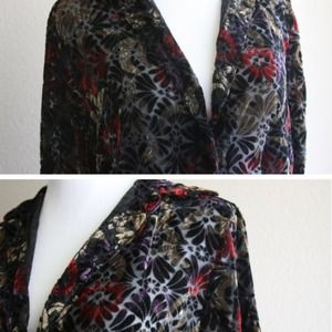 Sheer button up with floral velvet print