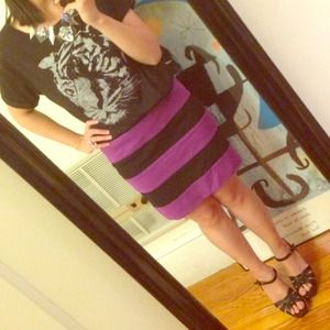 Purple and black wide striped skirt
