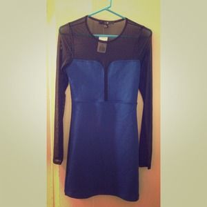 blue Forever 21 bodicon dress with mesh inserts