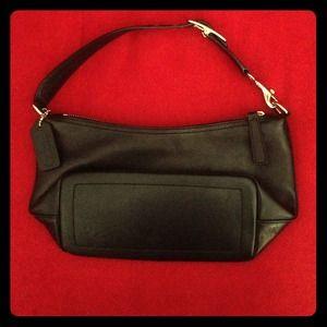 Coach black leather pouch.