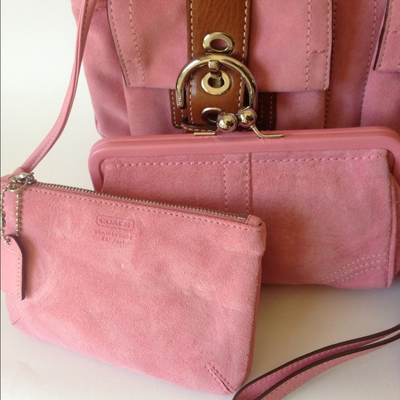 Coach - COACH Pink Suede Purse FULL Set from Taylor's closet on ...