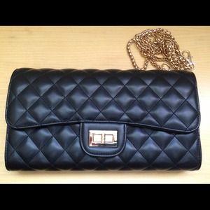 Handbags - Quilted black PU leather shoulder/clutch bag