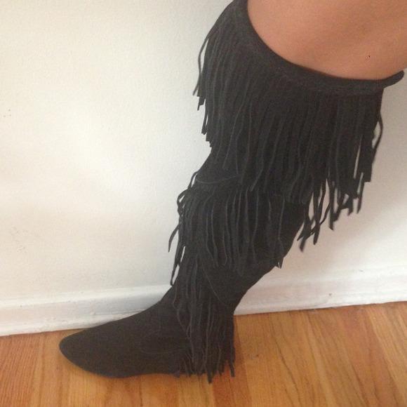 86% off Sam Edelman Boots - Sam Edelman Over-The-Knee Fringe Boots ...