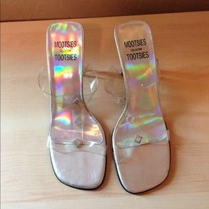 Shoes - Clear sandals with glass heel