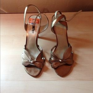 Shoes - Bronze sandals with leaf strap design.