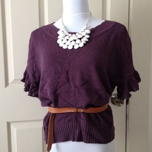 Elle Sweaters - Purple Short Sleeve Loose Fitting Sweater