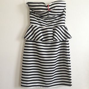Mandee Dresses & Skirts - SOLD! Black & White Striped Peplum