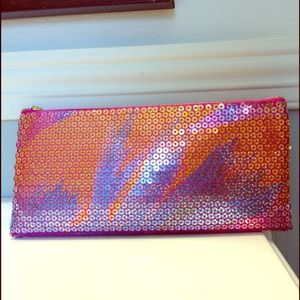Benefit Handbags - Benefit Sequined Make Up Bag Clutch