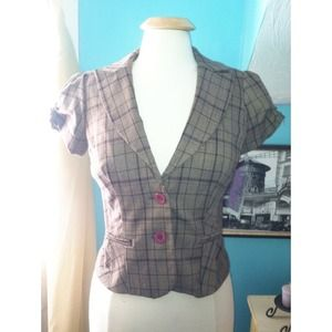 Brown Plaid XOXO Blazer