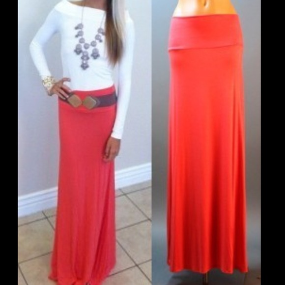44% off Dresses & Skirts - 🎉HOST PICK🎉Coral Fold Over Waist Maxi ...