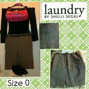 NEW Laundry byShelliSegal Brwn Chevron Print Skirt