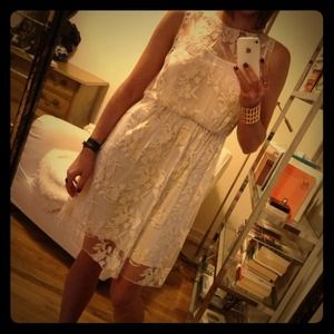 Alice and Olivia Ivory Lace Dress