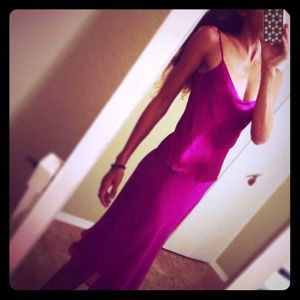 SALE🙆*MANGO 100% Silk Fuschia Gown