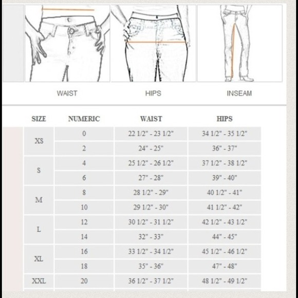 Women 39 s denim size converter all from amanda 39 s closet on for Wrangler mens shirt size chart