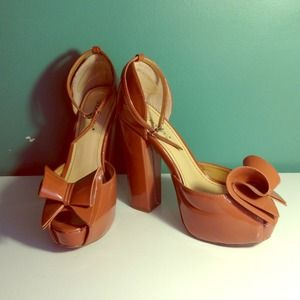Brown Platform Mary Jane's with Bow