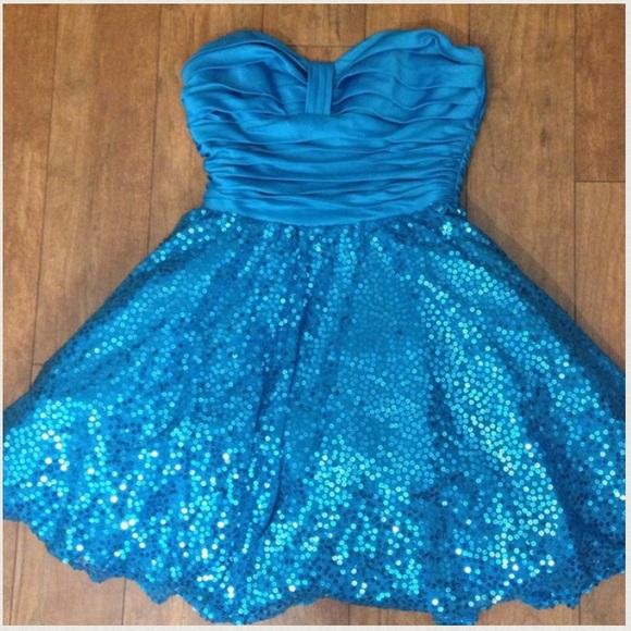 Blue Sequin Party Dress