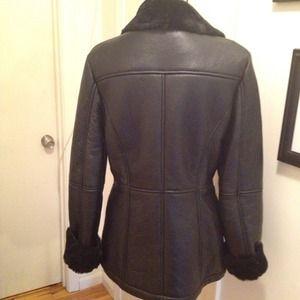 Black shearling jacket coat