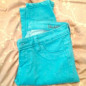 Blank NYC turquoise skinny jeans