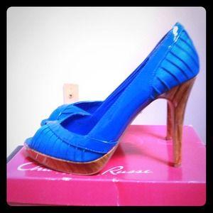 Size 9 Charlotte Russe Blue Peep Toe Pumps