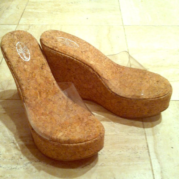 Y Generation Shoes Clear Lucite Wedge With Cork Sole