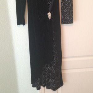 Dresses - Navy pattern evening dress