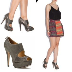 Shoedazzle Shoes - Metallic Gunmetal Cut-Out Heels