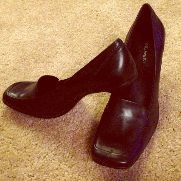 59d0f44968 Nine West Shoes | Square Toe Black Leather Heels | Poshmark