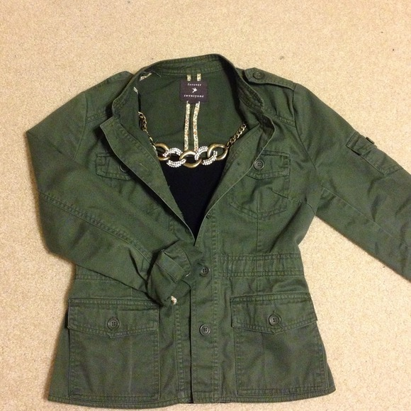 29% off Forever 21 Jackets & Blazers - Army Green Twill Jacket ...